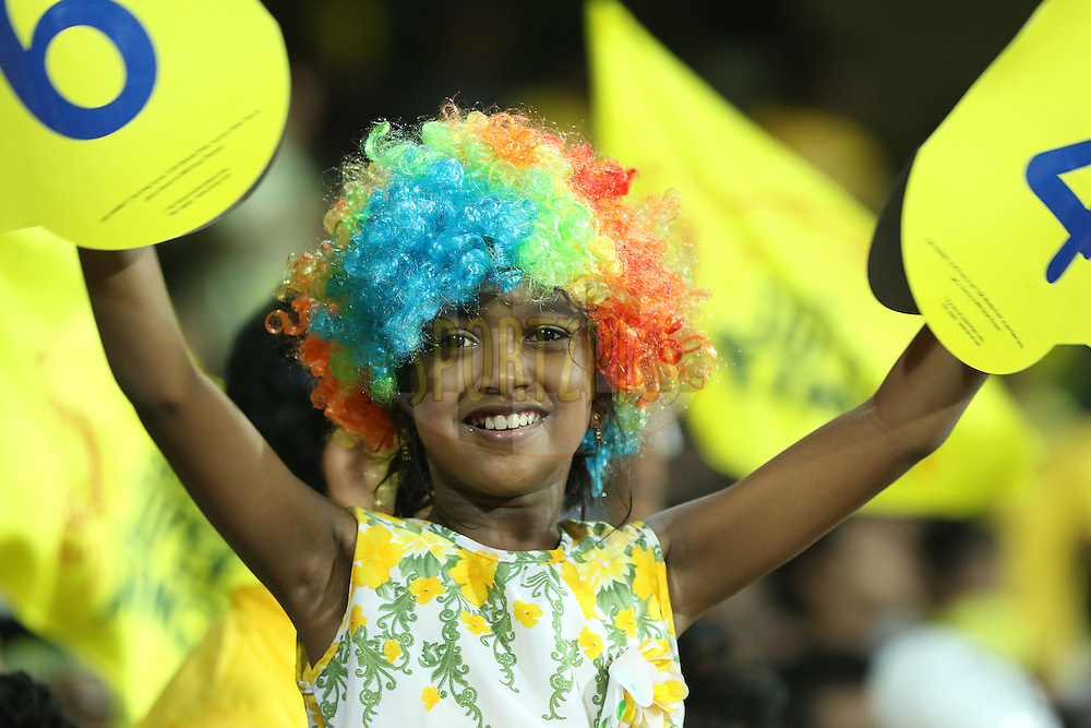 Fans during match 24 of the Pepsi IPL 2015 (Indian Premier League) between The Chennai Superkings and The Kings XI Punjab held at the M. A. Chidambaram Stadium, Chennai Stadium in Chennai, India on the 25th April 2015.<br /> <br /> Photo by:  Saikat Das / SPORTZPICS / IPL
