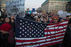 Berlin, Germany - 12.11.2016<br /> <br /> Protest in front of the US embassy in Berlin against the US president-elect Donald Trump. Hundreds of people, many of them US-American citizens abroad, join the Anti-Trump rally at the Brandenburg Gate.<br /> <br /> Protest vor der US-Botschaft in Berlin gegen den neugewaehlten US-Praesidenten Donald Trump. Hunderte Menschen, darunter viele US-Amerikaner, beteiligten sich an der Kundgebung die am Brandenburger Tor stattfand.<br /> <br /> / 121116