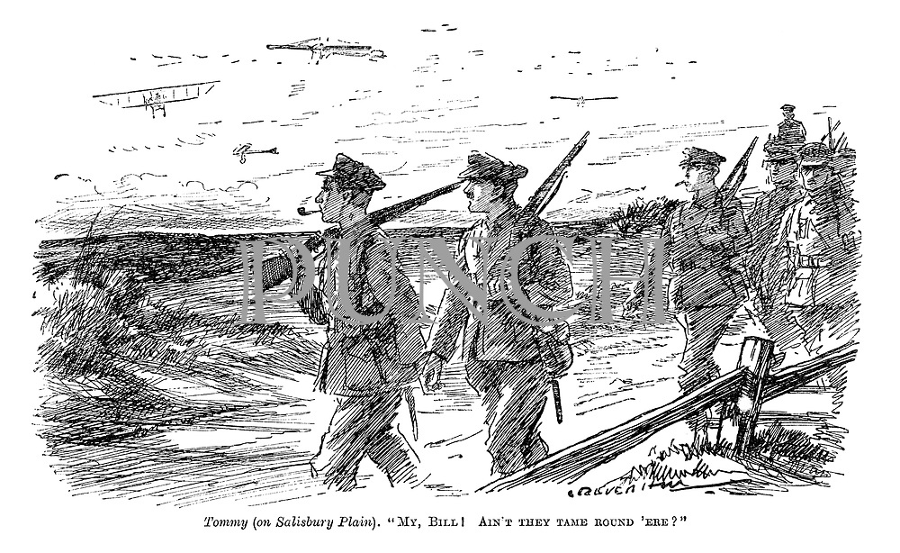 """Tommy (on Salisbury Plain). """"My, Bill! Ain't they tame round 'ere?"""""""