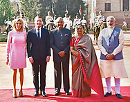 10.03.2018; New Delhi, India: PRESIDENT EMMANUEL MACRON AND WIFE BRIGITTE<br /> during the ceremonial welcome at Rashtrapati Bhavan, in New Delhi<br /> The French President who is on a 3 day visit to India, will be attending the Founding Conference of the International Solar Alliance.<br /> Picture shows: President Macron and wife Brigitte with Indian Prime Minister Narendra Modi and  President Ram Nath Kovind and wife Savita Kovind.<br /> Mandatory Credit Photo: &copy;NEWSPIX INTERNATIONAL<br /> <br /> IMMEDIATE CONFIRMATION OF USAGE REQUIRED:<br /> Newspix International, 31 Chinnery Hill, Bishop's Stortford, ENGLAND CM23 3PS<br /> Tel:+441279 324672  ; Fax: +441279656877<br /> Mobile:  07775681153<br /> e-mail: info@newspixinternational.co.uk<br /> **All Fees Payable To Newspix International**