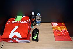 CARDIFF, WALES - Saturday, September 2, 2017: The dressing room booth of Wales' captain Ashley Williams in the dressing room before the 2018 FIFA World Cup Qualifying Group D match between Wales and Austria at the Cardiff City Stadium. (Pic by David Rawcliffe/Propaganda)