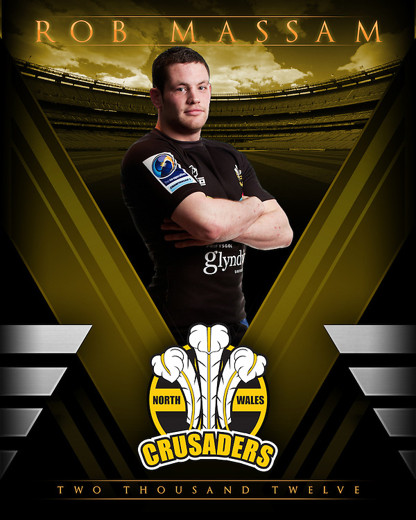 Individual player profile images for North Wales Rugby League team Crusaders by Sports Photographer Ioan Said