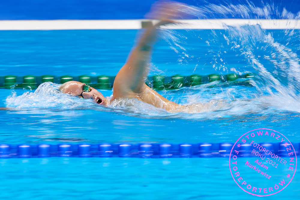 Rio de Janeiro, Brazil - 2016 September 2: Patryk Biskup from Poland swims during training session in Olympic Aquatics Stadium while 2016 Summer Paralympic Games on September 2, 2016 in Rio de Janeiro, Brazil.<br /> Rio 2016 Paralympic Games will be held from September 7 until 18.<br /> <br /> Adam Nurkiewicz declares that he has no rights to the image of people at the photographs of his authorship.<br /> <br /> Picture also available in RAW (NEF) or TIFF format on special request.<br /> <br /> Any editorial, commercial or promotional use requires written permission from the author of image.<br /> <br /> Mandatory credit:<br /> Photo by &copy; Adam Nurkiewicz / Mediasport