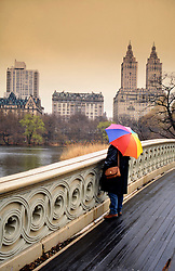 11.09.2013, New York City, USA, 12. Jahrestag zu den Terroranschlaegen auf das WTC, im Bild Frau mit Regenschirm auf Bow Bridge, Br¬ücke, Central Park, Manhatten MR=yes // during the remember of the terror attacks of the 11th of September 2001 at the world trade center in New York City, United States of America on 2013/09/11. EXPA Pictures © 2013, PhotoCredit: EXPA/ Eibner/ Michael Weber<br /> <br /> ***** ATTENTION - OUT OF GER *****