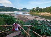 Laos, Luang Prabang. Confluence of Mekong and Nam Khan rivers.