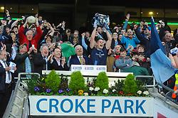 Westport's captain Brian McDermott raises the All Ireland intermediate cup.<br />Pic Conor McKeown