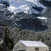 An alpine fly camp supporting a diamond drilling program