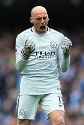 6th May 2017 - Premier League - Manchester City v Crystal Palace - Man City goalkeeper Wilfredo Caballero celebrates another goal - Photo: Simon Stacpoole / Offside.