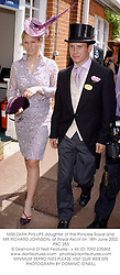 MISS ZARA PHILLIPS daughter of the Princess Royal and MR RICHARD JOHNSON, at Royal Ascot on 18th June 2002.PBC 253
