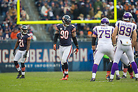 25 November 2012: Defensive end (90) Julius Peppers of the Chicago Bears lines up against the Minnesota Vikings during the second half of the Bears 28-10 victory over the Vikings in an NFL football game at Soldier Field in Chicago, IL.