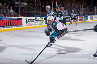 KELOWNA, CANADA - FEBRUARY 2:  Leif Mattson #28 of the Kelowna Rockets tries to block a pass against the Everett Silvertips on FEBRUARY 2, 2018 at Prospera Place in Kelowna, British Columbia, Canada.  (Photo by Marissa Baecker/Shoot the Breeze)  *** Local Caption ***