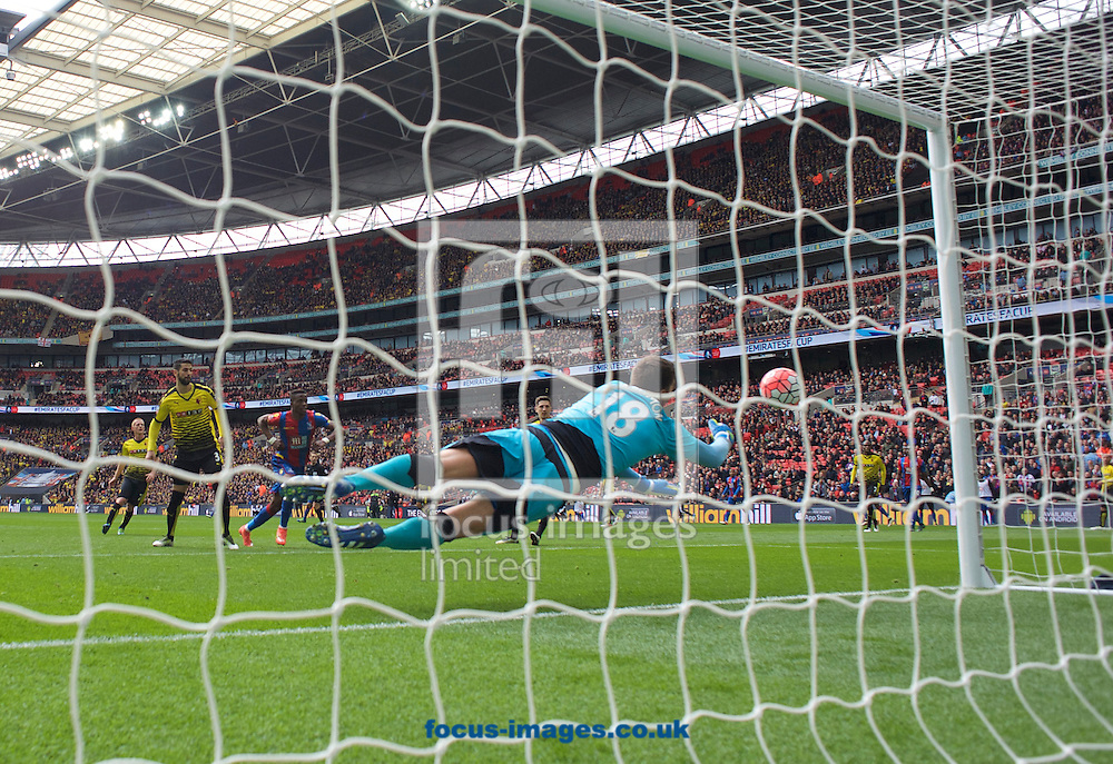 Goalkeeper Costel Pantilimon of Watford is beaten by the header from Connor Wickham of Crystal Palace to make it 2-1 during the FA Cup semi-final at Wembley Stadium, London<br /> Picture by Alan Stanford/Focus Images Ltd +44 7915 056117<br /> 24/04/2016