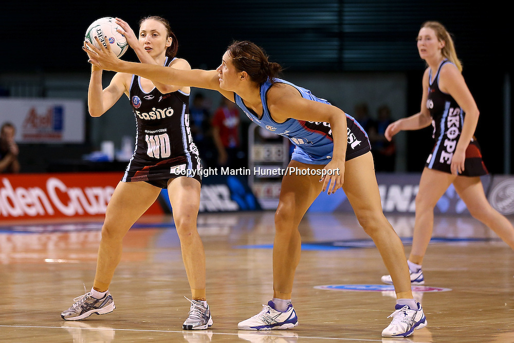 Jade Clarke of Canterbury Tactix and Jodi Brown of Southern Steel during the ANZ Netball Championship, Easiyo Tactix v Southern Steel at CBS Arena, Christchurch, New Zealand. Saturday 30th March 2013. Photo: Martin Hunter/ Photosport.co.nz