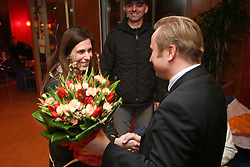 Marija Sestak and president of Slovenian Athletic Federation Peter Kukovica at the reception of Slovenian triple jumper Marija Sestak (Martinovic) after she jumped 15,08 m (the best score of the year in the world and nationai record) in Athens, on February 14, 2008 in M-Hotel, Ljubljana, Slovenia. (Photo by Vid Ponikvar / Sportal Images)