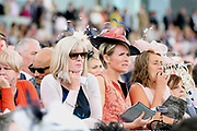 Racegoers watching the racing during the Yorkshire Ebor Festival, Darley Yorkshire Oaks, at York Racecourse, York, United Kingdom on 23 August 2018. Picture by Mick Atkins.