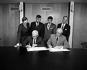 Signing Contract At Jacobs Biscuits.  D535.<br /> 1970.<br /> 17.09.1970.<br /> 09.17.1970.<br /> 17th September 1970.<br /> Image shows the signing of a contract at Jacobs Factory in Dublin.