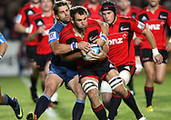 George Whitelock is wrapped up by the Bulls defence..Investec Super Rugby - Crusaders v Bulls, 9 April 2011, Alpine Energy Stadium, Timaru, New Zealand..Photo: Rob Jefferies / www.photosport.co.nz