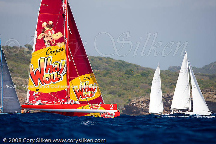 Whaou sailing race 3 at Antigua Sailing Week.