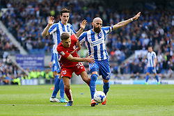 Jamie Paterson of Bristol City is tackled by Bruno Saltor of Brighton & Hove Albion in the penalty area - Mandatory by-line: Jason Brown/JMP - 29/04/2017 - FOOTBALL - Amex Stadium - Brighton, England - Brighton and Hove Albion v Bristol City - Sky Bet Championship