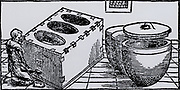 Mercury. Stove and pots in which mercury-bearing ore was heated