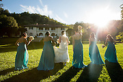 Bride and groom celebrate their outdoor villa wedding at the Montalvo Arts Center in Saratoga, California, on September 23, 2016. (Stan Olszewski/SOSKIphoto)