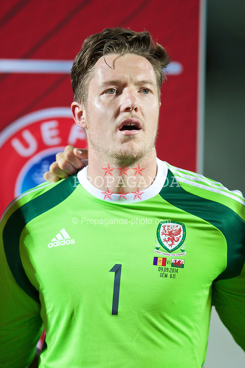 ANDORRA LA VELLA, ANDORRA - Tuesday, September 9, 2014: Wales' goalkeeper Wayne Hennessey lines-up before the opening UEFA Euro 2016 qualifying match against Andorra at the Camp d'Esports del M.I. Consell General. (Pic by David Rawcliffe/Propaganda)