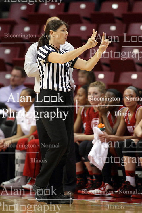 30 January 2015: Amy Bonner calls a foul during an NCAA women's basketball game between the Bradley Braves and the Illinois Sate Redbirds at Redbird Arena in Normal IL