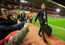 LIVERPOOL, ENGLAND - Thursday, March 10, 2016: Liverpool's Roberto Firmino arrives ahead of the UEFA Europa League Round of 16 1st Leg match against Manchester United at Anfield. (Pic by David Rawcliffe/Propaganda)