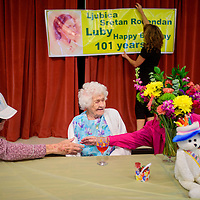 080415       Cable Hoover<br /> <br /> Ljubica Gerenko, center, chats with her friends during her 101st birthday at Little Sisters of the Poor in Gallup Tuesday.