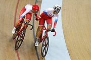 Women Madison, Amalie Dideriksen (Denmark) - Julie Leth (Denmark)during the Track Cycling European Championships Glasgow 2018, at Sir Chris Hoy Velodrome, in Glasgow, Great Britain, Day 6, on August 7, 2018 - Photo luca Bettini / BettiniPhoto / ProSportsImages / DPPI<br /> - Restriction / Netherlands out, Belgium out, Spain out, Italy out -
