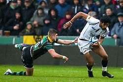 Melani Nanai of Worcester Warriors is tackled by James Grayson of Northampton Saints - Mandatory by-line: Robbie Stephenson/JMP - 26/10/2019 - RUGBY - Franklin's Gardens - Northampton, England - Northampton Saints v Worcester Warriors - Gallagher Premiership Rugby
