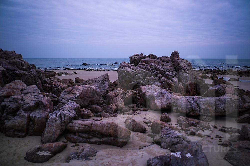 Rocky coast of Quan Lan island, Quang Ninh Province, Vietnam, Southeast Asia