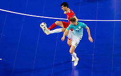 Esquerdinha of Russia vs Matej Fidersek of Slovenia during futsal quarterfinal match between National teams of Slovenia and Russia at Day 7 of UEFA Futsal EURO 2018, on February 5, 2018 in Arena Stozice, Ljubljana, Slovenia. Photo by Vid Ponikvar / Sportida