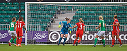 NEWPORT, WALES - Tuesday, September 3, 2019: Wales' goalkeeper Laura O'Sullivan is beaten as Northern Ireland score the opening goal during the UEFA Women Euro 2021 Qualifying Group C match between Wales and Northern Ireland at Rodney Parade. (Pic by David Rawcliffe/Propaganda)