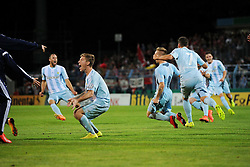 15.08.2014, Stadion an der Gellertstrasse, Chemnitz, GER, DFB Pokal, Chemnitzer FC vs 1. FSV Mainz 05, 1. Runde, im Bild Jubel/Freude nach dem Spielende bei Mannschaft des Chemnitzer FC Emotionen // during the 1st round match of German DFB Pokal between Chemnitzer FC and 1. FSV Mainz 05 at the Stadion an der Gellertstrasse in Chemnitz, Germany on 2014/08/15. EXPA Pictures © 2014, PhotoCredit: EXPA/ Eibner-Pressefoto/ Schmalfuss<br /> <br /> *****ATTENTION - OUT of GER*****