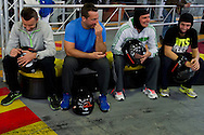 (L-R) Michal Przysiezny & trainer assistant Aleksander Charpantidis & Marcin Matkowski while GoKarts Racing on F1 Karting Track four days before the BNP Paribas Davis Cup 2014 between Poland and Croatia in Warsaw on March 31, 2014.<br /> <br /> Poland, Warsaw, March 31, 2014<br /> <br /> Picture also available in RAW (NEF) or TIFF format on special request.<br /> <br /> For editorial use only. Any commercial or promotional use requires permission.<br /> <br /> Mandatory credit:<br /> Photo by © Adam Nurkiewicz / Mediasport