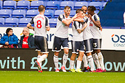 Bolton Wanderers celebrate Bolton Wanderers forward Chris O'Grady scoring a goal to make it 1-0 during the EFL Sky Bet League 1 match between Bolton Wanderers and Fleetwood Town at the University of  Bolton Stadium, Bolton, England on 2 November 2019.