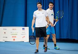 Damjan Kralj of BTC and Gregor Krusic at event for sponsors of Tenis Slovenija when they are playing tennis with Slovenian men Davis Cup team, on January 25, 2018 in Tennis Centre Breskvar, Ljubljana, Slovenia.  Photo by Vid Ponikvar / Sportida