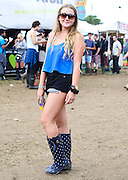 Welly street fashion at Glastonbury Festival in Somerset  on Friday, 28 June 2013