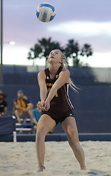 April 6, 2018 - Tucson, AZ, U.S. - TUCSON, AZ - APRIL 06: Arizona State Sun Devils Cierra Flood (31) hits the ball during a college beach volleyball match between the Arizona State Sun Devils and the Arizona Wildcats on April 06, 2018, at Bear Down Beach in Tucson, AZ. Arizona defeated Arizona State 4-1. (Photo by Jacob Snow/Icon Sportswire (Credit Image: © Jacob Snow/Icon SMI via ZUMA Press)