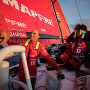 Leg Zero, Prologue, Tuesday Oct. 10  Position Report on-board MAPFRE. Photo by Jen Edney/Volvo Ocean Race. 11 October, 2017