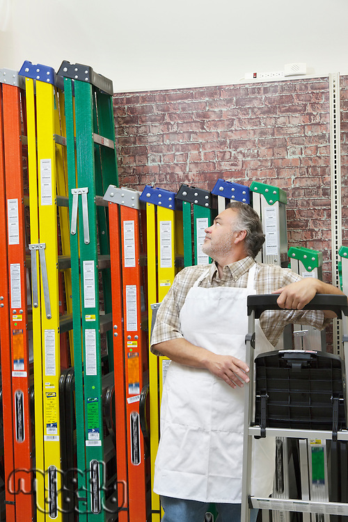 Mature salesperson standing by multicolored ladders in hardware store