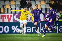 Aljoša Matko of Bravo and Alexandru Cretu and Nemanja Mitrović of Maribor during football match between NK Maribor and NK Bravo in 25th Round of Prva liga Telekom Slovenije 2019/20, on March 7, 2020 in Ljudski vrt, Maribor, Slovenia. Photo by Blaž Weindorfer / Sportida