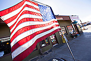 American flag in the Mojave desert town of Joshua Tree, California.