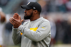 OAKLAND, CA - DECEMBER 09: Head coach Mike Tomlin of the Pittsburgh Steelers watches his team during warm ups before the game against the Oakland Raiders at O.co Coliseum on December 9, 2018 in Oakland, California. Photo by Jason O. Watson/Getty Images) *** Local Caption *** Mike Tomlin