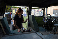 Joanna Graham of Mt. Laurel, New Jersey looks over a Humvee from the inside during an Honorary Commander boot camp for 40 local officials Thursday October 29, 2015 at Joint Base McGuire-Dix-Lakehurst  in Fort Dix, New Jersey. Participants experienced combined arms training, simulated combat environments and enjoyed a military cuisine. (Photo by William Thomas Cain)