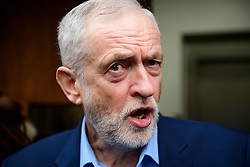 © Licensed to London News Pictures. 14/01/2017. London, UK. Labour Party leader JEREMY CORBYN speaking to media after delivering a speech at the Fabian Society conference in London on January 14, 2016. Corbyn has come under further pressure as leader following the resignation of Stoke-on-Trent, Tristram Hunt. Photo credit: Ben Cawthra/LNP