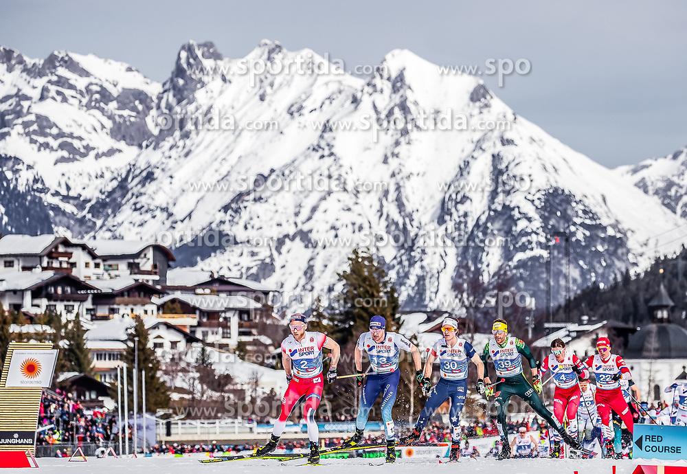 03.03.2019, Seefeld, AUT, FIS Weltmeisterschaften Ski Nordisch, Seefeld 2019, Langlauf, Herren, 50 km Massenstart, im Bild Martin Johnsrud Sundby (NOR), Dario Cologna (SUI), David Norris (USA) // Martin Johnsrud Sundby of Norway, Dario Cologna of Switzerland, David Norris of the USA during the men's cross country 50 km mass start competition of FIS Nordic Ski World Championships 2019. Seefeld, Austria on 2019/03/03. EXPA Pictures © 2019, PhotoCredit: EXPA/ JFK