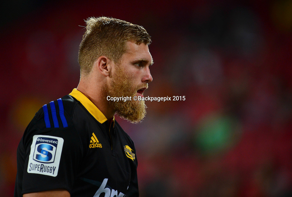 Brad Shields of the Hurricanes during the 2015 Super Rugby rugby match between the Lions and the Hurricanes at Ellis Park in Johannesburg, South Africa on February 13, 2015 ©Barry Aldworth/BackpagePix