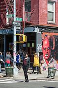 Bedford Avenue in the Williamsburg neighborhood in Brooklyn, New York.